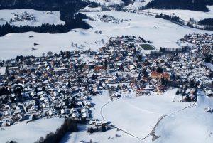 Scheidegg im Winter von oben